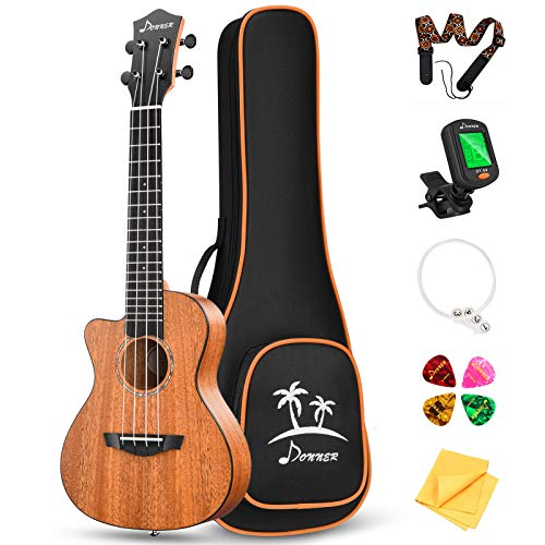 Donner Left handed Concert Ukulele Mahogany 23 Inch Professional Cutaway Ukelele Bundle Kit for Beginner Adults Kids with Gig Bag Strap Nylon String Tuner Picks Cloth DUC-100L Ukalalee Yukalalee