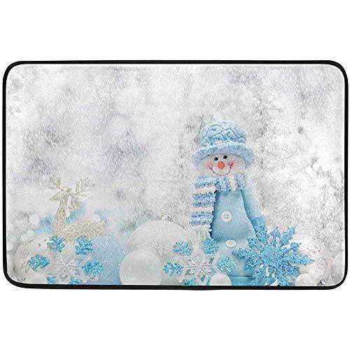 Taoshi Bola de muñeco de Nieve de Navidad Alfombrillas para Puerta al Aire Libre Alfombra de baño para Cocina Alfombra de Piso, Azul de Invierno Nieve Entrada Frontal Blanca Alfombrilla Exterior