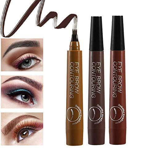 Augenbrauenstift, Eyebrow Tattoo Pen mit 4 Fork Tips, 3 Farben Eyebrow Pencil, Permanent Wischfest Wasserfest Long Lasting Augenbrauenstift, 3Pcs