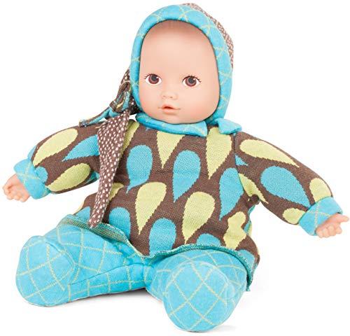 Götz 1791121 Baby Pure Vintage Puppe - 33 cm große Erstlingspuppe ohne Haare, braune Augen - waschbare Babypuppe - ab 0 Monaten Jahren