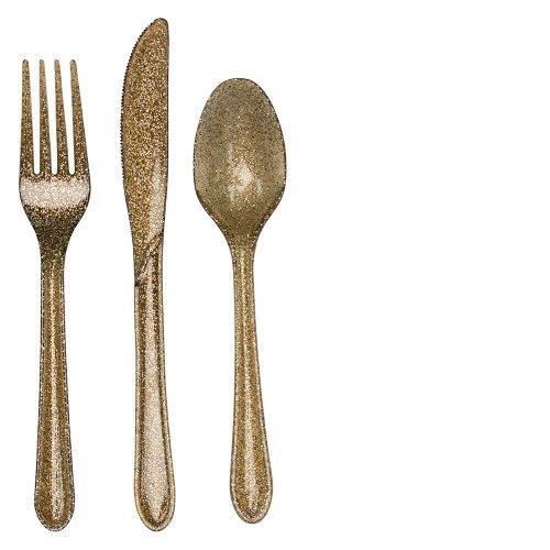 24-Piece Premium Plastic Assorted Cutlery, Glitz Gold Glitter