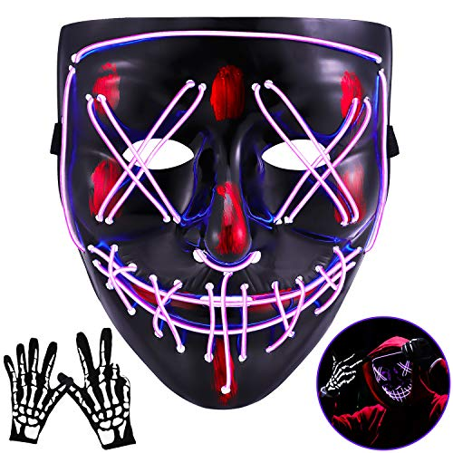 Halloween Mask LED Light Up Scary Mask with Skull Gloves 3 Lighting Modes for Festival Parties Cosplay (purple)
