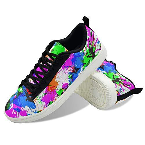 ODAWA Lettere Colorate Scarpe Skateboard per Uomini Scarpe di Tela per Outdoor Sport US 7, (Vernice colorata schizzi), 42.5 EU