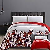 DecoKing 25918 Tagesdecke 240x260 cm Mikrofaser Bettüberwurf Steppung zweiseitig leicht zu pflegen rot weiß orange violett grün blau Boho