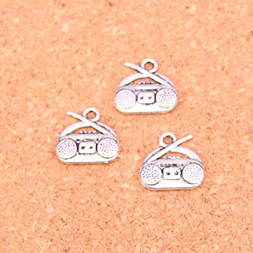 LKJHG 20 Piezas Colgantes de amuletos de Radio chapados en Plata para Collar Pulsera fabricación de Bricolaje Hecho a Mano 14 * 15 mm