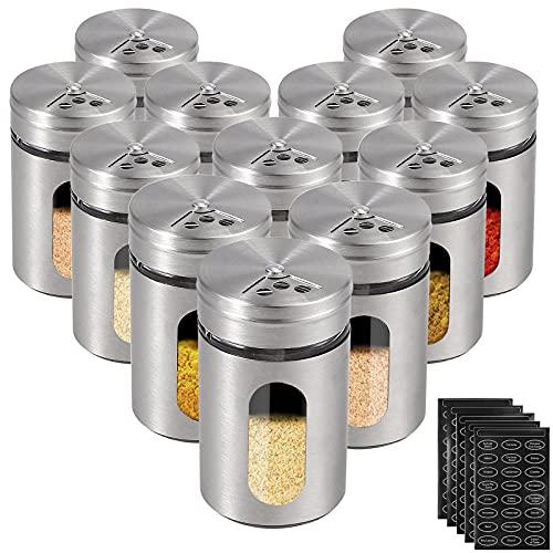 Gewürzdosen HOMGEN 12 Stück Gewürzstreuer mit Gläsern Edelstahl 90 ml Gewürzbehälter mit 3 Verschiedenen Bohrungsschalter für Salz Schwarzer Pfeffer