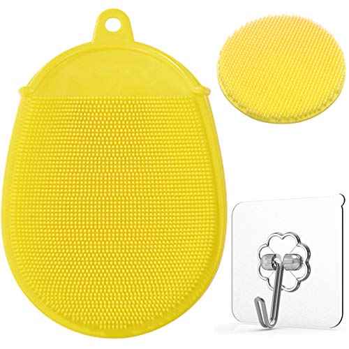 Toddler Silicone Body Bath Brush | The Bath Mitt | Quick-Dry Replacement to Kids Washcloth | Fits Both Parent or Child for Early Stage Development (Yellow)