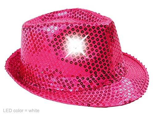 COOLMP Fiesta Palace - Chapeau Trilby À Paillettes Lumineux Pink