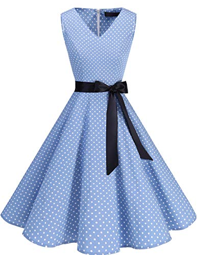 bridesmay 1950er V-Ausschnitt Kleid Vintage Cocktailkleid Rockabilly Retro Schwingen Kleid Faltenrock Blue Small White Dot 4XL