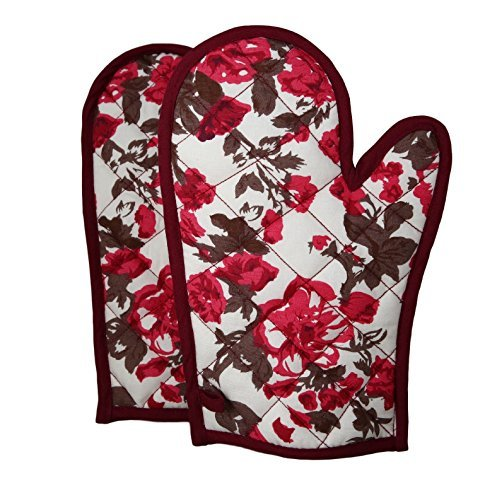Shalinindia Cotton Oven Mittens And Pot Holders OG02-2712 Wine Quilted Cotton Oven Gloves 8 x12 Inch Oven Mitts Set for Kitchen