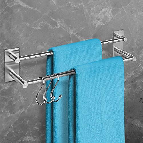 BORBETO® Doppelte Handtuchstange – Hochwertige Edelstahloptik – Inklusive [3] Handtuchhaken – Handtuchhalter ohne Bohren – Handtuchstange [40]cm