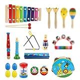 LinStyle Juguetes Instrumentos Musicales Infantiles, 25Pcs Instrumentos de Percusión para Niños, Juguete Educativo Bebés, Regalos para Niños de Navidad y Cumpleaños