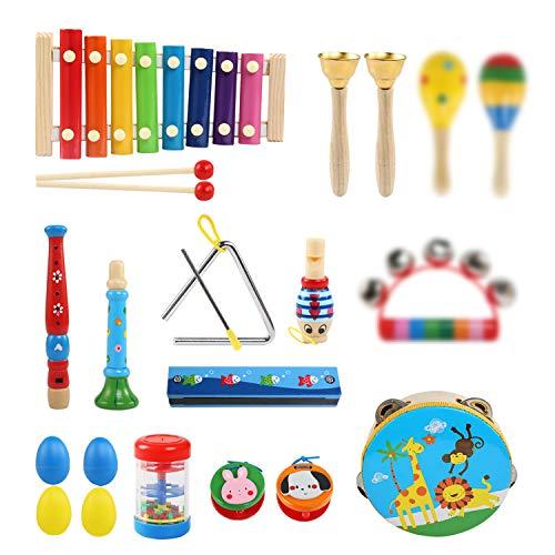 LinStyle Instrument de Musique pour Enfant, 25Pcs Instruments de Musique en Bois Percussion pour Bébé avec Xylophone, Tambourin, Triangle Instrument Jouets dans Un Sac de Transport pour Enfant 3