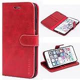 Mulbess Handyhülle für iPhone 6S Plus Hülle, Leder Flip Hülle Schutzhülle für iPhone 6 Plus Tasche, Wein Rot