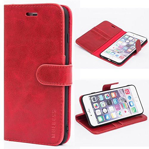 Mulbess Funda para iPhone 6S Plus, Funda iPhone 6 Plus, Funda Cartera iPhone 6S Plus, Funda Libro para iPhone 6S Plus con Tapa, Vino Rojo