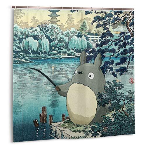 Studio Ghibli - Anime My Neighbor Totoro Fishing Shower Curtain, Cloth Fabric Bathroom Decor Set, 72 X 72 Inches