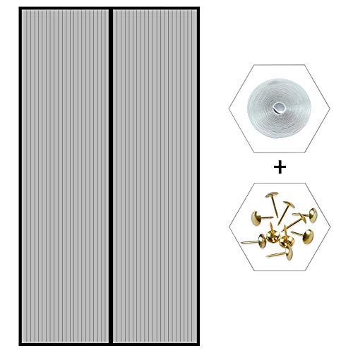 Magnetica per Zanzariera 110x270cm, Tenda Anti Zanzare Chiusura Automatica per Porte di Soggiorno Camera da Letto Casa - Grigio