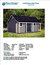 14' x 20' Storage Shed with Porch Plans for Backyard Garden – Design #P81420