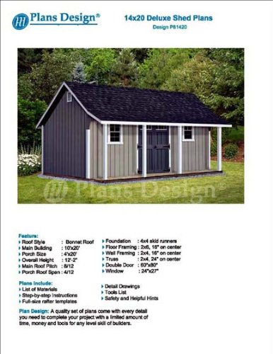 14' x 20' Storage Shed with Porch Plans for Backyard Garden - Design #P81420