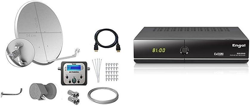 Tecatel E60C1LSCCK1-37 - Kit parabólica de 60 cm + Engel RS8100HD - Receptor satélite de sobremesa (Full HD, PVR, Lector Conax, WiFi, USB 2.0, HDMI, ...