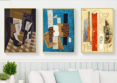 aoyukf Abstrakte Violine Und Gitarre Poster Und Drucke Cafe Bar Wandkunst Leinwand Malerei Picasso Kubismus Wandbilder Für Hauptdekoration-Rahmenlose-35X50Cmx3