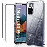 YNMEacc Crystal Hülle für Xiaomi Redmi Note 10 Pro Hülle & Xiaomi Redmi Note 10 Pro Max Hülle + 2 X Panzerglas, Handyhülle Transparent Silikon Stoßfeste Kratzfest Soft Silikon TPU