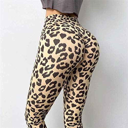 GUOYANGPAI Pantalones de Entrenamiento de Gimnasio, Nuevo Estampado de Leopardo de otoño para Mujer, Mallas de Cintura Alta para Mujer, Mallas de Secado rápido para Fitness,Amarillo,M