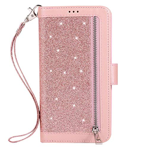 Great Price! Herbests Compatible with Samsung Galaxy J4 2018 Wallet Case Zipper Luxury Bling Glitter...