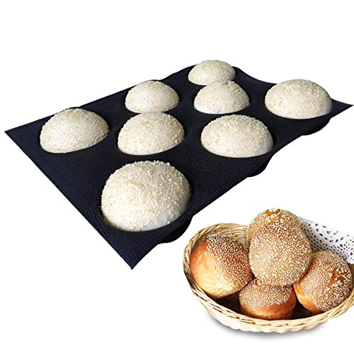 Bluedrop Silicone Bun Bread Forms Round Shape Trays Perforated Bakery Molds Fit Half Pan Size