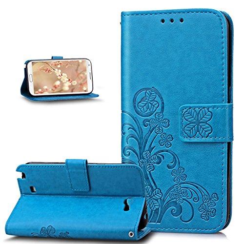 Kompatibel mit Galaxy Note 2 Hülle,Galaxy Note 2 Lederhülle,ikasus Prägung Klee Blumen Muster PU Lederhülle Handyhülle Taschen Flip Wallet Ständer Etui Schutzhülle für Galaxy Note 2,Klee Blumen:Blau