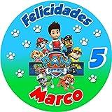 OBLEA de Patrulla Canina Personalizada con Nombre y Edad para Pastel o Tarta, Especial para cumpleaños, Medida Redonda de 20cm de diámetro