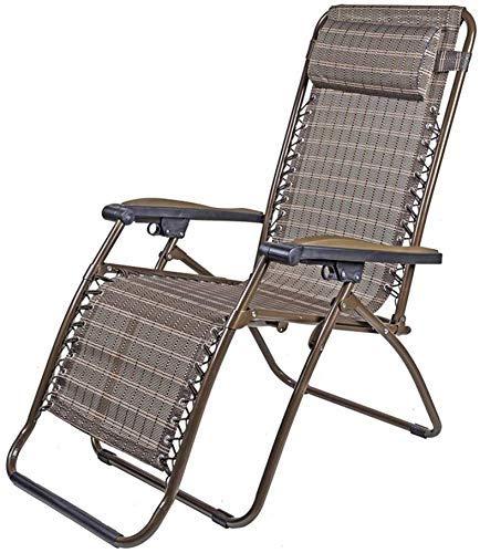 Sillones reclinables de Gravedad sillas reclinables Gravedad Cero Texteline reclinable Tumbona Multiusos Sofá de Patio al Aire Libre (Color: Tubo Redondo de ratán)