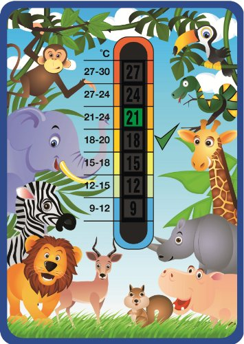 Happy Family Jungle Animals Nursery 9-27 degree Centigrade Temperature Thermometer Card
