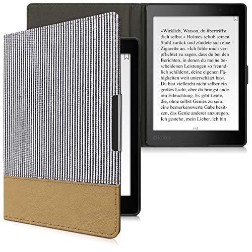 kwmobile Custodia Compatibile con Kobo Aura One - Cover Protettiva Flip Case a Libro per eReader - in Pelle PU e Stoffa - A Piece of Art Blu/Bianco