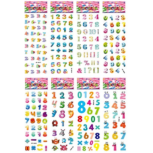 8 Sheets/pack numbers and letters kids cute stickers 3D bubble PVC early learning educational toys cartoon DIY sticker