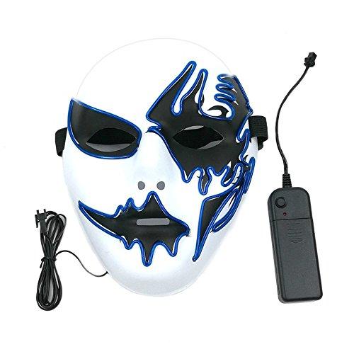 Máscara con luz LED decoración creativa para fiesta de Halloween Street Dance fiesta de cumpleaños Carnival Cosplay Pub
