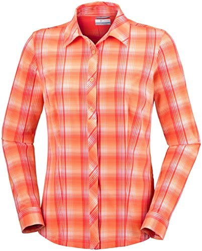 Columbia Saturday Trail Stretch Plaid Long Sleeve Shirt Ek0040 Camisa de Manga Larga, Mujer