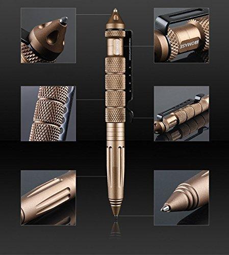 ZENDY Penna a Sfera in Alluminio TP1A interruttori di Vetro Auto-Protezione Penna Multifunzione Strumento (Nero)