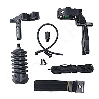 SinoArt Archery Acccessories Combo Set Archery Upgrade 5 Pin Bow Sight with Level and Light Arrow Rest Stabilizer Sling Peep for Compound Bow and Recurve Bow  Black