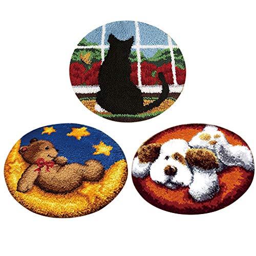 Baoblaze 3pcs Lot de Tapis en Crochet Ours Chien Chat Acrylique+Tissu 50x50cm