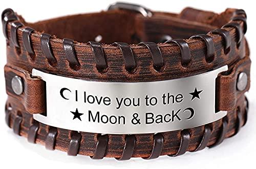 AMOZ I Love You To The Moon And Back Pulsera de Cuero Ajustable Pulsera con Colgante de Palabras Inspiradoras Grabadas en Acero Inoxidable para Mujer Regalo para Hombre,Marrón