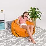 Posh Beanbags Bean Bag Chair, X-Large-48in, Sports Basketball Orange and Black