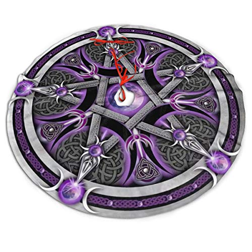 Purple Wicca Wiccan Star Pentagram Pentacle Themed Round Christmas Xmas Tree Skirt Carpet Mat Rugs Pad Party Favors Supplies Home Ornament Decoration 30 36 48 Inch Small Big Giant Large