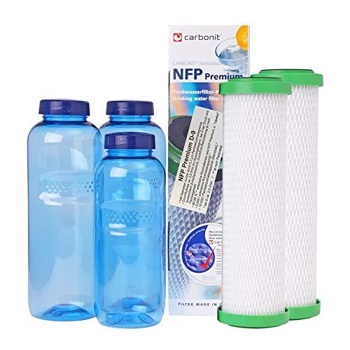 sanquell NFP-Premium D-9 Vorteilspaket | hohe Filterfeinheit | reduziert deutlich Blei, Kupfer und andere Anreicherungen im Wasser | Gratis: 3 TRITAN-Flaschen | BPA-frei