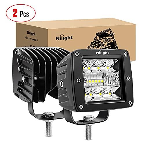 Nilight 2PCS 3Inch 42W LED Cubes Upgraded Spot Flood Combo Beam Square LED Pod Light Driving Fog Light for Offroad Pickup Trucks Jeep ATV UTV SUV, 2 Years Warranty (14025C-B)