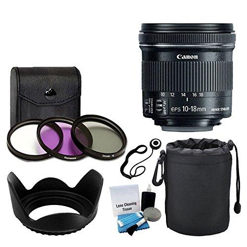 Canon EF-S 10-18mm f/4.5-5.6 is STM Lens for DSLR Cameras + 3 Piece Filter Kit + Soft Lens Pouch + Lens Hood + 5 Piece Cleaning Kit + Lens Cap Holder + Complete Lens Accessory Bundle