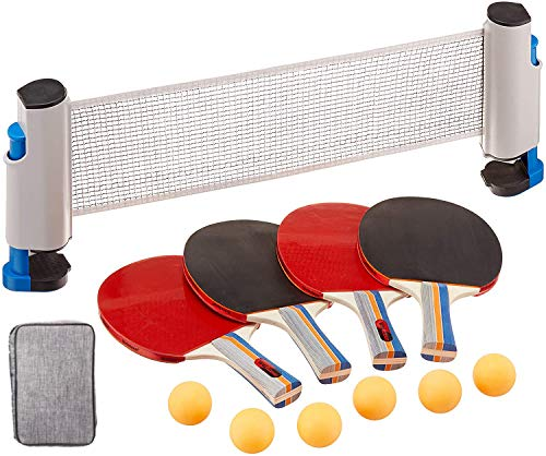 RTMAXCO Ping Pong Paddle Set, Ping Pong Paddles with Carry Case, Best 4 Pack Professional Table Tennis Racket Set, 6 Game Balls,Table Tennis Set with Retractable Table Tennis net.