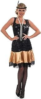 Ladies Black Gold 1920s 1930s Flapper Girl Charleston Honey Gatsby Fancy Dress Costume Outfit 8-30 Plus Size (UK 8-10)