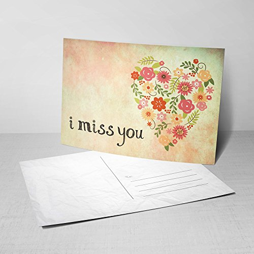 5 From My Heart Postcards - I Miss You Greeting Cards with Floral Heart...