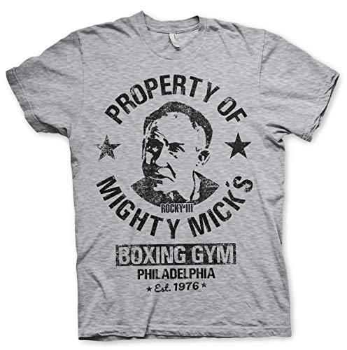 Rocky Offizielles Lizenzprodukt Mighty Mick's Gym Herren T-Shirt (H.Grau), Large